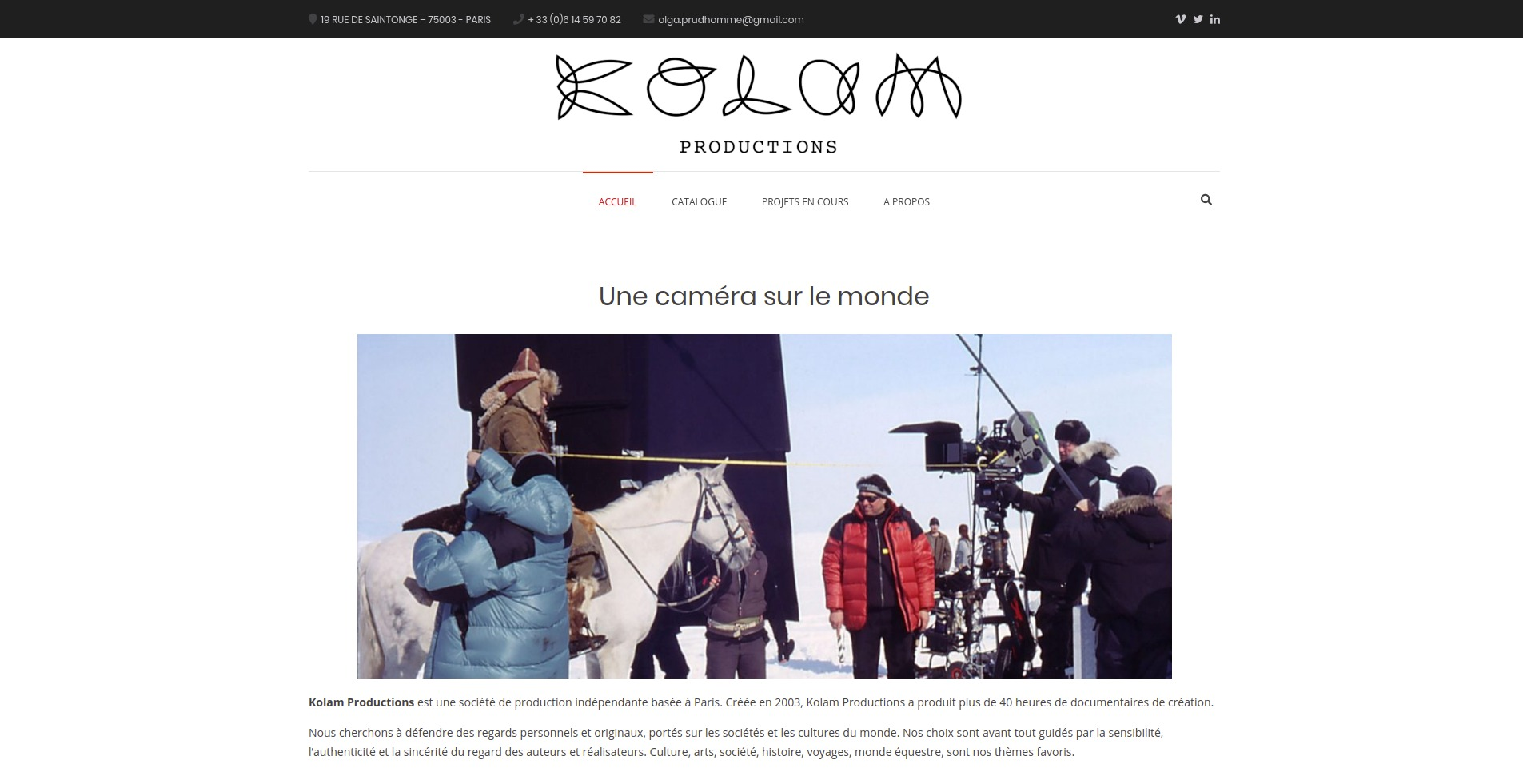 site web de Kolam Productions